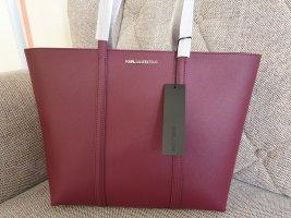 Karl Lagerfeld K/Sphynx Shopper tasche neu schultertasche handtasche weinrot silber Bordeaux