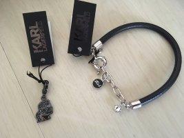 Karl Lagerfeld Lederen armband zwart-zilver Leer