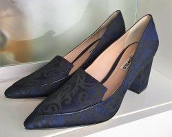 * KARL LAGERFELD *  NEU ! SPITZ PUMPS BLOCK ABSATZ Leder  & Textil blau schwarz  floral Gr 39
