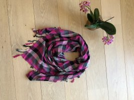 Karo Tuch in Pink mit Fransen