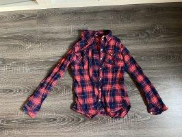 Karohemd rot blau kariert Bluse Damen Holzfällerhemden