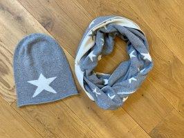 Écharpe en cachemire gris-blanc cassé