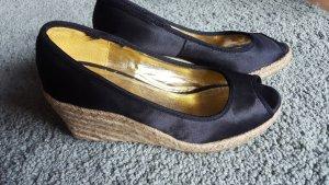 Keil-Espadrille-Sandalette mit Bastabsatz