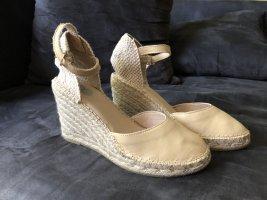 8 Espadrille sandalen licht beige Leer