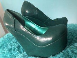 Jumex Zapatos de cuña verde oscuro