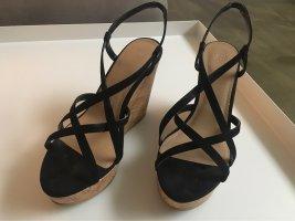 H&M Sandały klinowe na obcasie czarny