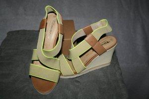Keil Sandale / Sandalette in beige / neon von Tamaris Gr. 37