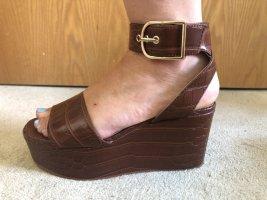 H&M Platform Sandals cognac-coloured-brown mixture fibre