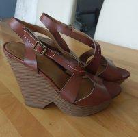 Deichmann Platform High-Heeled Sandal brown red imitation leather