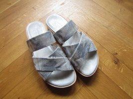 Kennel und Schmenger Heel Pantolettes silver-colored-white leather