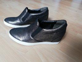 Kennel & Schmenger Slip On Sneaker Keilabsatz 37,5 Leder neu Silber Metallic