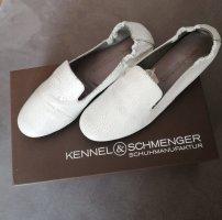 Kennel & Schmenger Slipper Loafer Brautschuhe bequem weiß Leder Größe 36,5 fast NEU