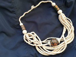 African Style Pearl Necklace taupe-natural white