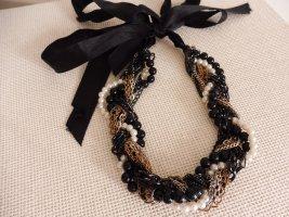 Kette Halskette Collier Perlen weiße Damen Halsschmuck schwarz