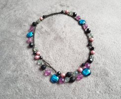 Kette Perlen Türkis Mint Schwarz Lila Altrosa