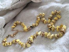 Kette Sommerlich Hawaii Schmucksteinchen Gelb Gold