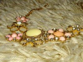 Kette Verstellbar Blumen Rosa Beige Gold Zara (NP: 30€)