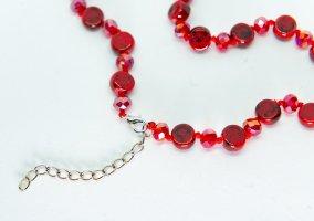 Bijou Brigitte Collier de perles rouge brique-rouge foncé tissu mixte