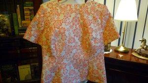 KEW159 Blusentop Jacquard floral creme/orange m. Goldfäden Gr. 40