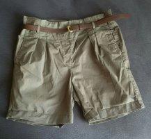 khaki Zara-Shorts mit geraffter Taille und Gürtel