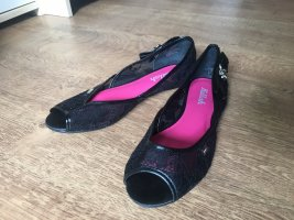 Killah Peep Toe Ballerinas black-raspberry-red