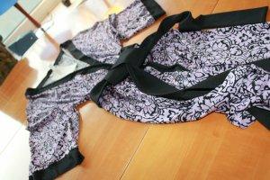 Kimono noir-violet viscose