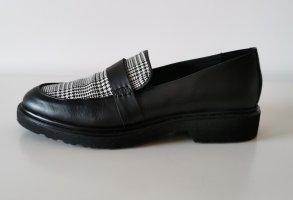 Kiomi Babouche noir-blanc cuir