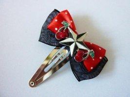 Kirschen und Stern Haarschleife Haarreifen schwarz rot Punkte Haar Accessoires