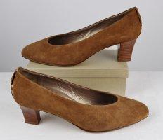 Klassisch Leder Pumps Dorndorf Gina Größe 6,5 40 Hellbraun Braun Goldfarben Trotteur Schuhe Elegant Velours