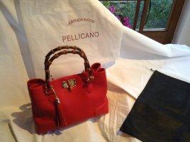 Klassisch- Rote Leder Handtasche mit Holzkurzgriffen