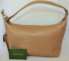 Longchamp Sac hobo brun sable cuir