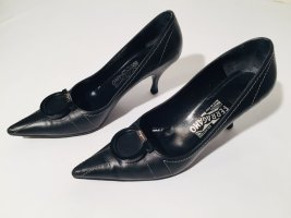 Klassische Salvatore Ferragamo Spitzpumps schwarzes Leder Gr.41,5