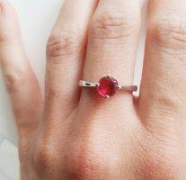 Klassischer 925 Silberring roter Zirkonia 19mm