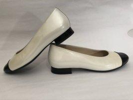 Hassia Ballerina di pelle verniciata nero-bianco sporco Pelle