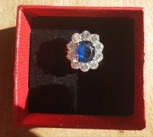 Gouden ring zilver-donkerblauw Gemengd weefsel