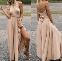 Vestido cruzado beige