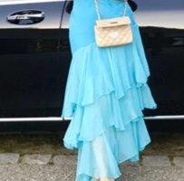 Chiffon jurk lichtblauw Zijde