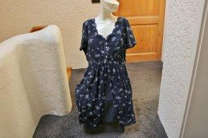 #Kleid, Gr. 44, #dunkelblau-weiß, #René Derhy, #hochwertig, #leicht, #Markenmode,