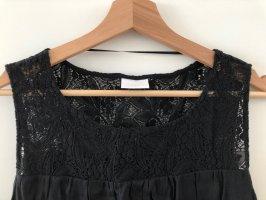 Kleid mit Spitze, schwarz, ärmellos, knielang, Größe S