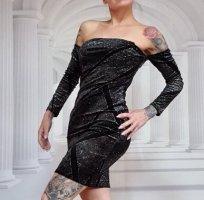 Kleid Off Shoulder Tally Weijl Neu S 34 XS schwarz glitzer Samt stretch
