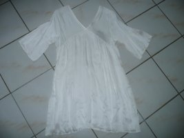 Kleid Tunikakleid V-Neck Viscose Seide cremefarbend Italy Boho Style 36 38 40 42