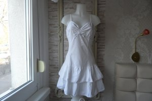 Kleid Weis Made in italy Cotton Leine Gr. 36 - 38 Edel & Modern
