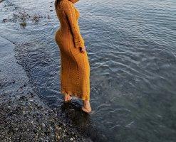 Zara Robe à manches longues orange doré