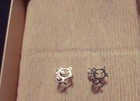 Kleine 925 Sterling Silber Katzen Ohrringe