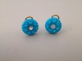 Vintage Orecchino a clip blu neon-oro