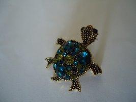 Kleine Brosche Schildkröte blau-grün