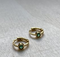 Silver Ear Hoops gold-colored-green