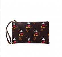 Kleine Mickey Mouse Maus Kosmetik Tasche braun Kunstleder NEU