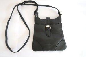 kleine schwarze Lederhandtasche von Eddie Bauer