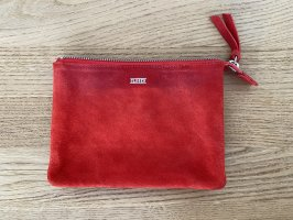 Closed Clutch neon orange-red leather